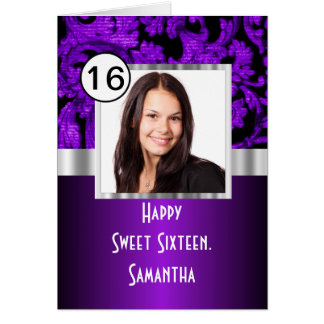 Purple and black damask sweet sixteen card