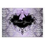 Purple and Black Damask Thank You Cards