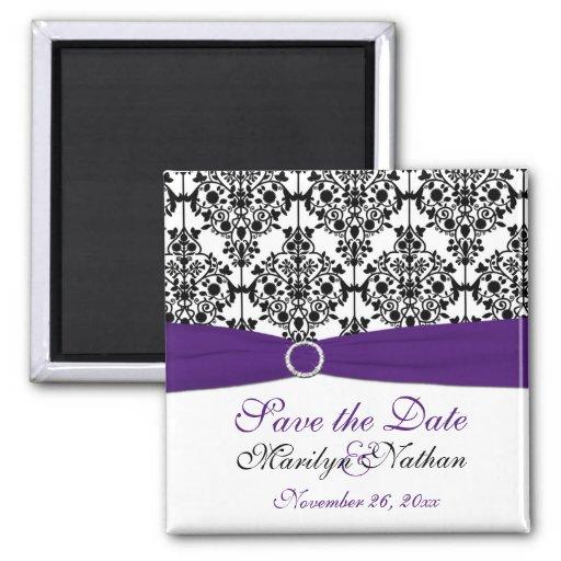 Purple and Black Damask Wedding Favor Magnet
