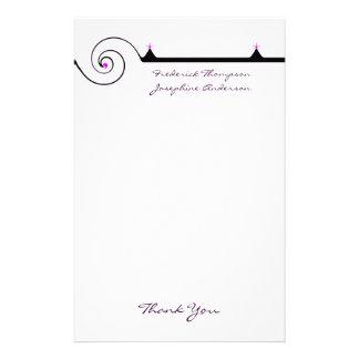 Purple and Black Elegant Wedding Thank You Stationery Design