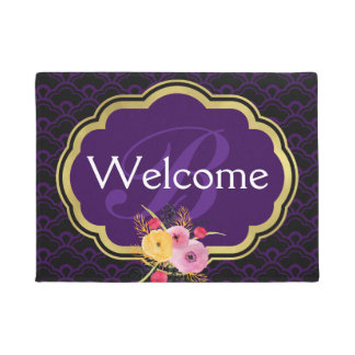 Purple and Black Fancy Scallops Monogrammed Doormat