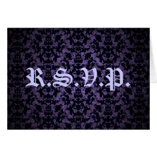 Purple and black Gothic elegant R.S.V.P. card
