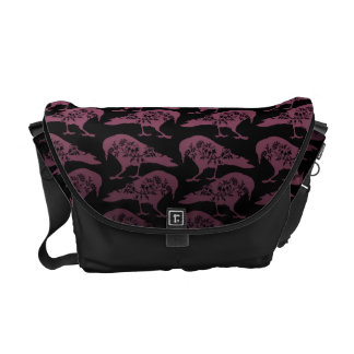 Purple and Black Gothic Raven Messenger Bag