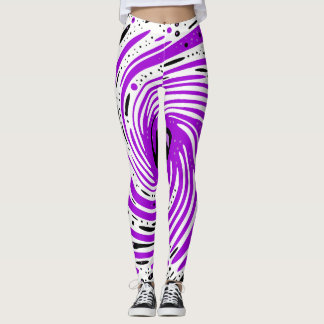 Purple and Black Ink Spiral Leggings