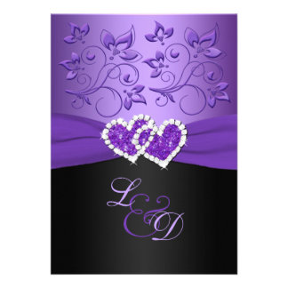 Purple and Black Joined Hearts Monogrammed Invite