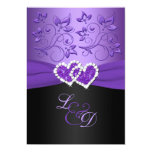Purple and Black Joined Hearts Monogrammed Invite 13 Cm X 18 Cm Invitation Card