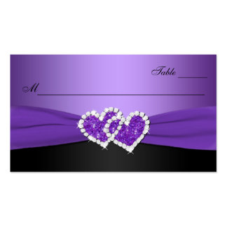 Purple and Black Joined Hearts Place Card Pack Of Standard Business Cards