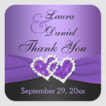 Purple and Black Joined Hearts Wedding Sticker