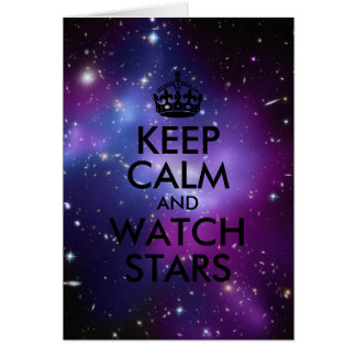 Purple and Black Keep Calm and Watch Stars Card