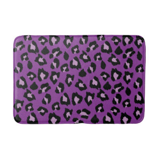 Purple and Black Leopard Print Bath Mat