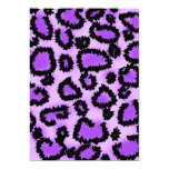 Purple and Black Leopard Print Pattern. Personalized Invites