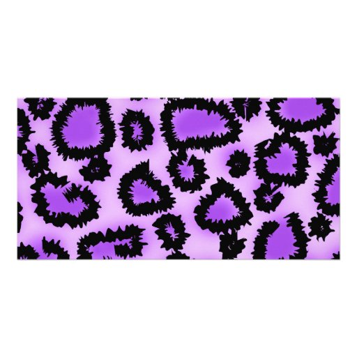 Purple and Black Leopard Print Pattern. Personalized Photo Card