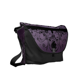 Purple and Black Metallic Designer Courier Bag