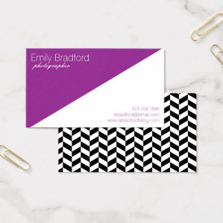 Purple and Black Modern Herringbone Business Cards
