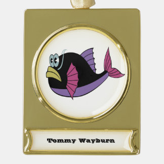 Purple and black multi color puffer fish gold plated banner ornament