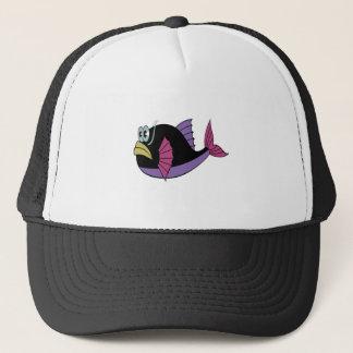 Purple and black multi color puffer fish trucker hat