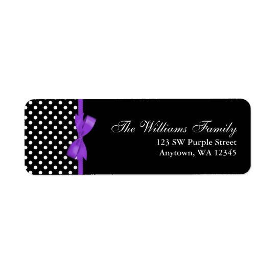 Purple and Black Polka Dot Bow Return Address Label