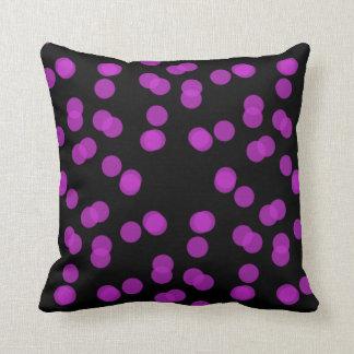 Purple and Black Polka Dot Cushion
