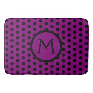 Purple and Black Polka Dot Monogram Bath Mat