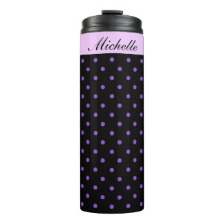 Purple and Black Polka Dot Special Personalised Thermal Tumbler