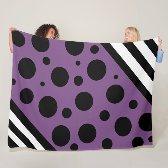 Purple and Black Polka Dots and Stripes Blanket