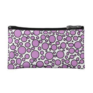 Purple and Black Polka Dots Cosmetic Bag