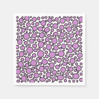 Purple and Black Polka Dots Disposable Serviettes