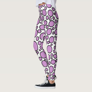 Purple and Black Polka Dots Leggings