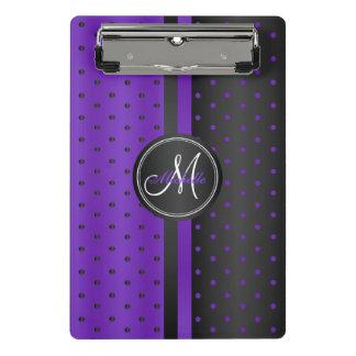 Purple and Black Polka Dots - Monogram