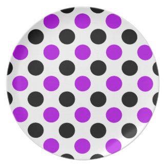 Purple and Black Polka Dots Dinner Plates