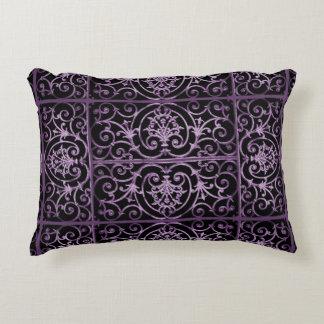 Purple and black scrollwork decorative cushion