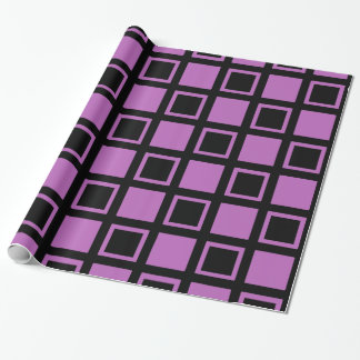 Purple and Black Squares Wrapping Paper