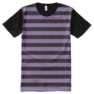 Purple and Black Striped All-Over Print T-Shirt