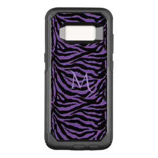 Purple and Black Striped Animal Monogram OtterBox Commuter Samsung Galaxy S8 Case