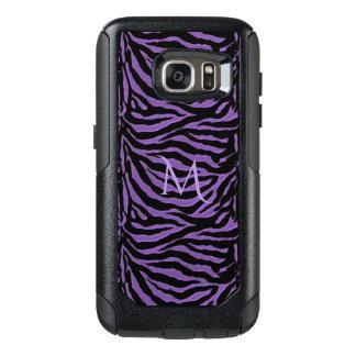 Purple and Black Striped Animal Print Monogram OtterBox Samsung Galaxy S7 Case