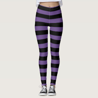 Purple And Black Striped Halloween Leggings