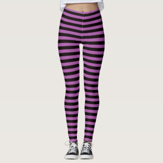 Purple and black stripes Halloween witch leggings