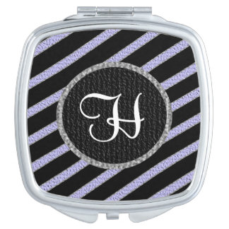 Purple and black stripes monogram compact mirror