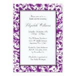 Purple and Black Swirl Damask Bridal Shower 13 Cm X 18 Cm Invitation Card