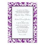 Purple and Black Swirl Damask Wedding 13 Cm X 18 Cm Invitation Card