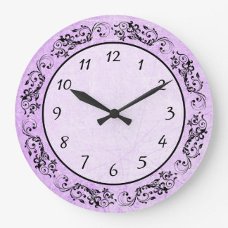 Purple and Black Tribal Border Elegant Clock