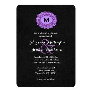 Purple and Black Vintage Lace Monogram V06 Card