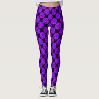 Purple and Black Volleyball Leggings Pants