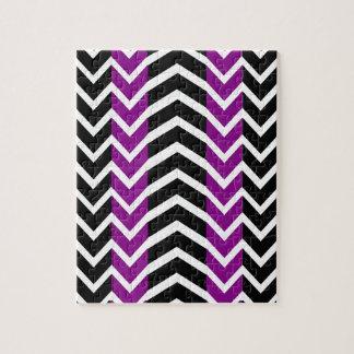 Purple and Black Whale Chevron Jigsaw Puzzle