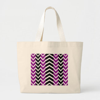 Purple and Black Whale Chevron Large Tote Bag