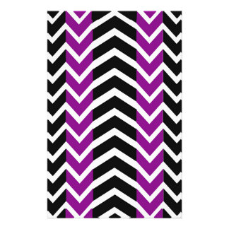 Purple and Black Whale Chevron Stationery