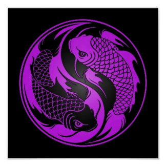 Purple and Black Yin Yang Koi Fish Poster