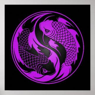 Purple and Black Yin Yang Koi Fish Poster
