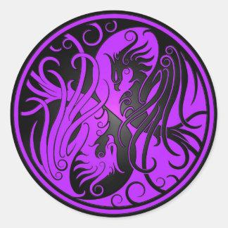 Purple and Black Yin Yang Phoenix Stickers