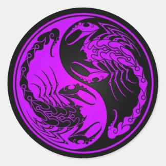 Purple and Black Yin Yang Scorpions Round Sticker
